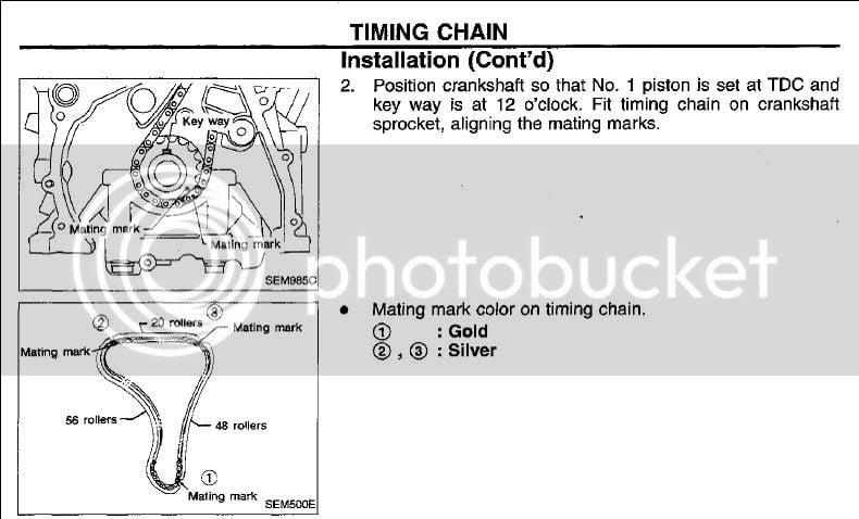 Srtimingmarks on 2001 Nissan Sentra 1 8 Timing Marks