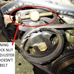 Nissan Sentra 1997 GXE B14 how to replace serpentine drive belt. Remove PS/WP belt. Loosening lock nut and adjuster bolt doesn't make belt loose.  Wha